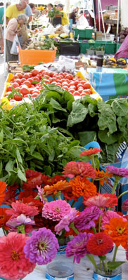 Fresh vegetables, herbs, and flowers for sale